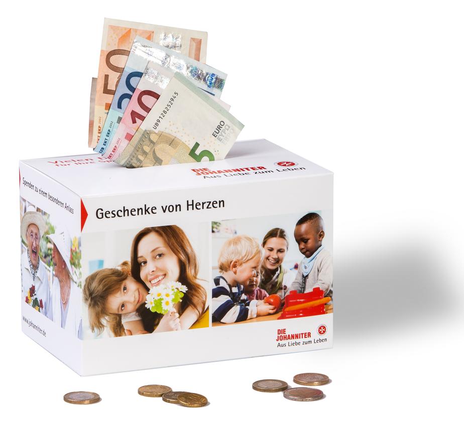 Mit der Johanniter-Spendenbox können Sie auch direkt auf Ihrer Feier um Spenden bitten.