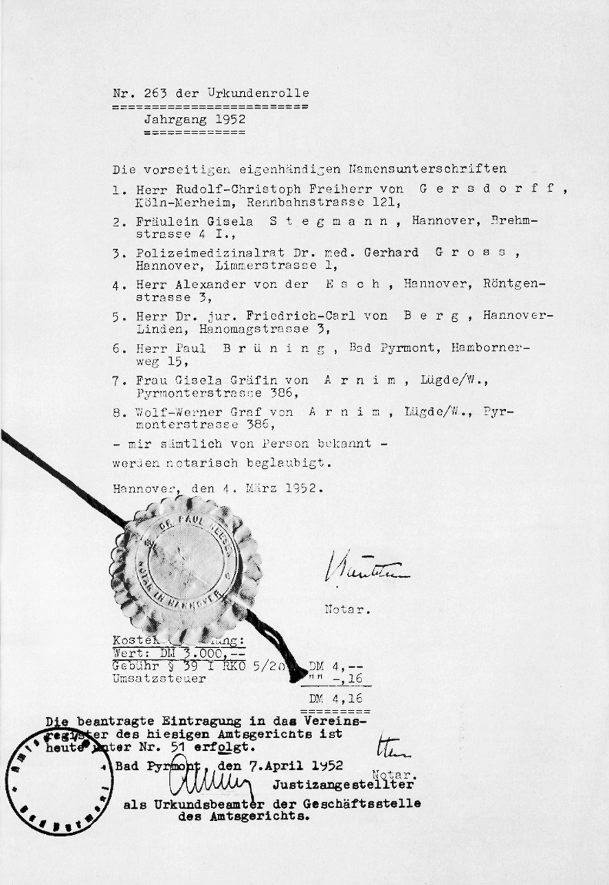 Gründungsurkunde der Johanniter-Unfall-Hilfe aus dem Jahr 1952.