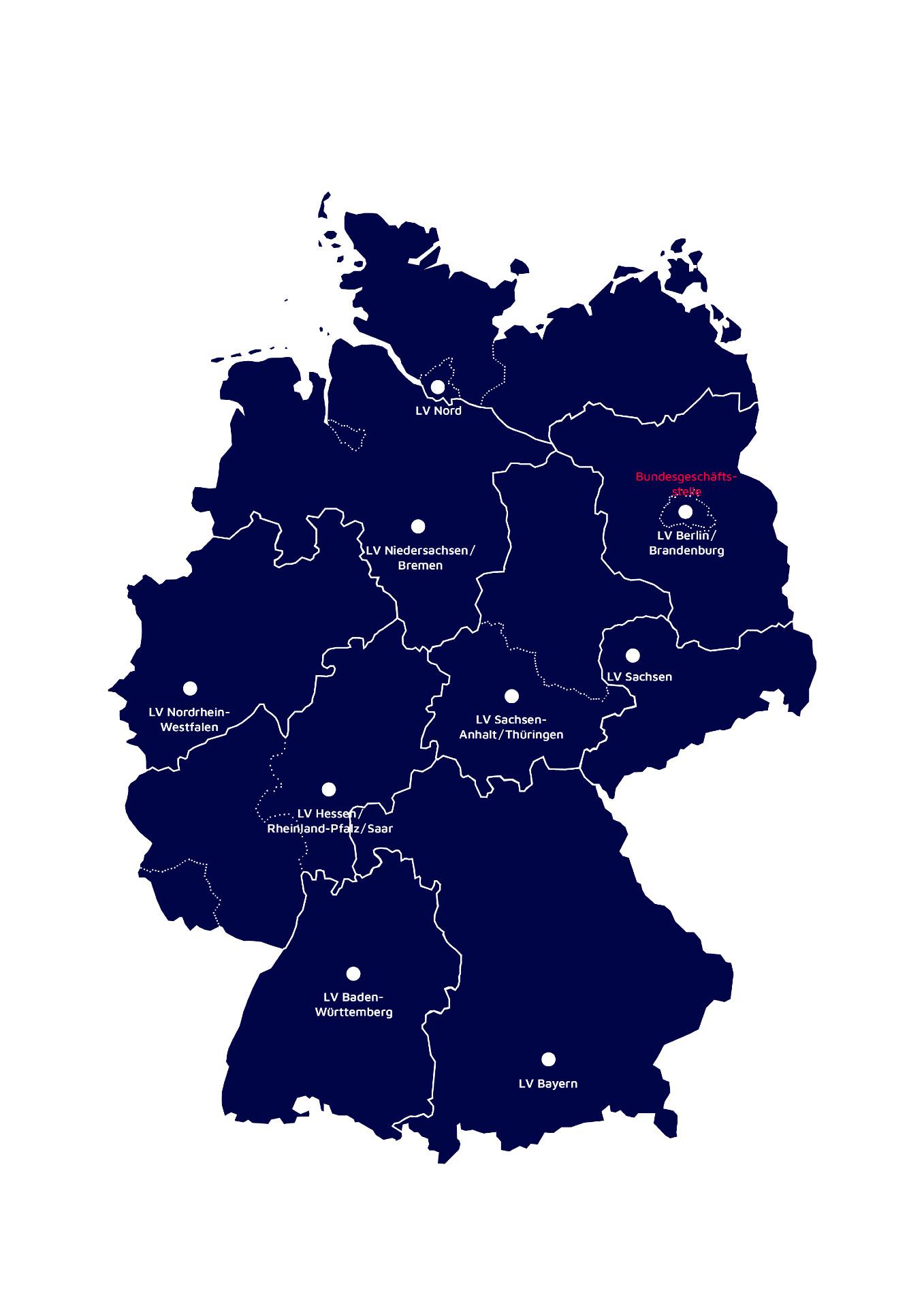 Übersicht der Landesverbände der Johanniter-Unfall-Hilfe e.V. in Deutschland.