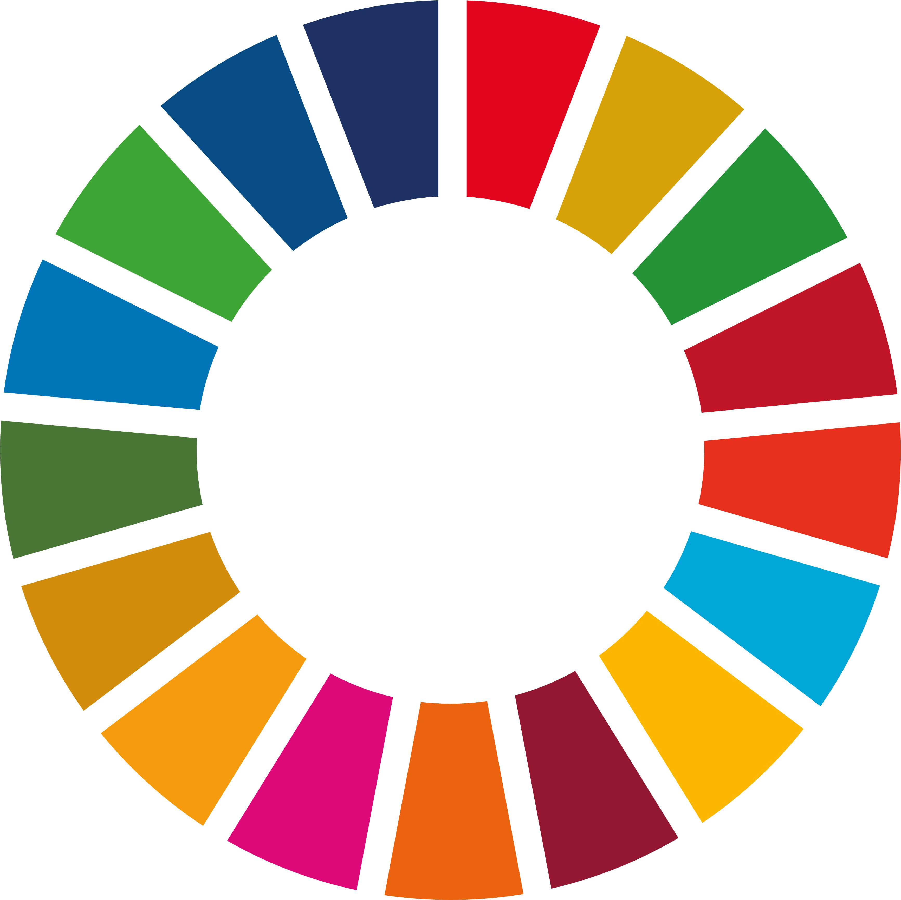 Ein Kreis mit 17 verschiedenen Farben, die tortenförmig angeordnet sind.