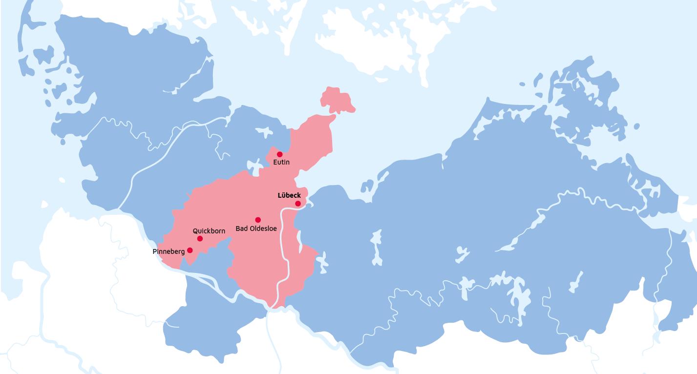 Karte des Regionalverbandes Schleswig-Holstein Süd/Ost