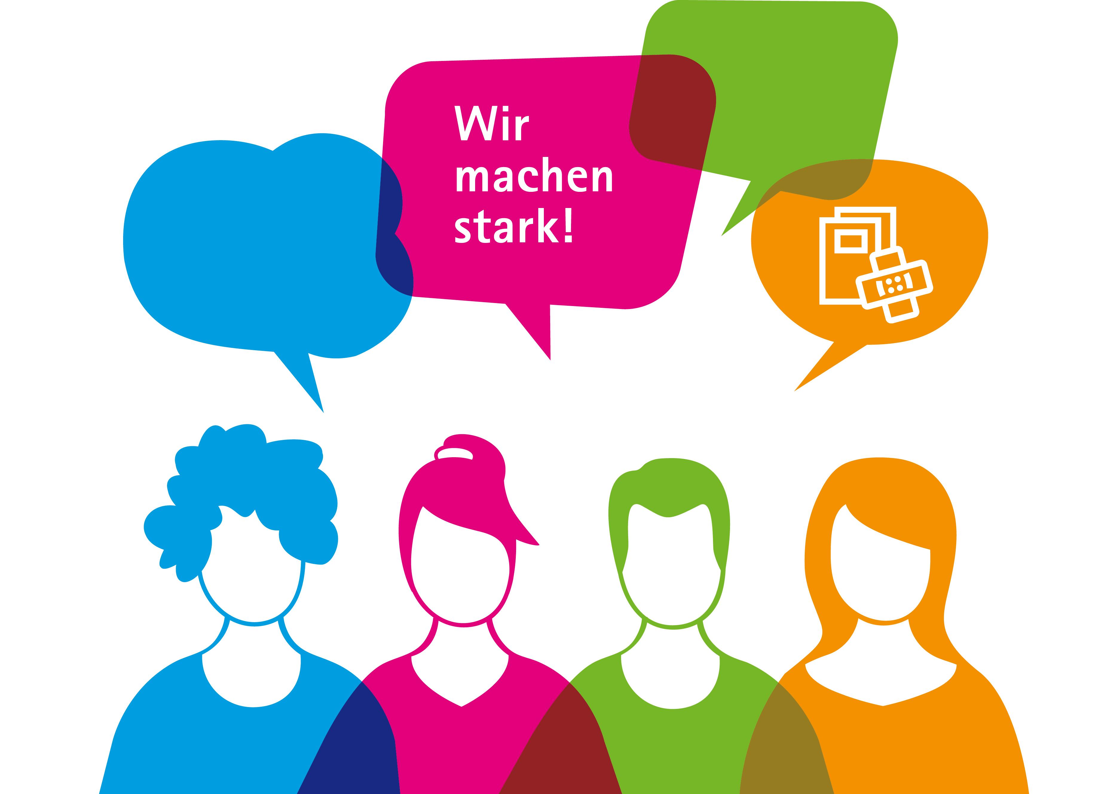 """Grafik der Johanniter-Jugend mit Figuren und Sprechblase """"Wir machen stark"""""""