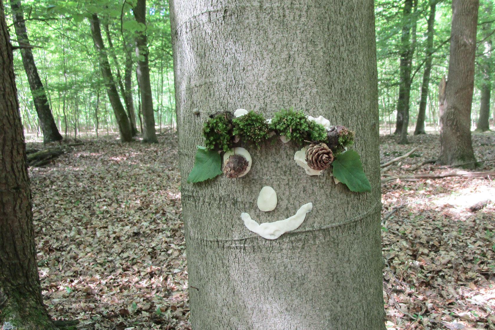 Ein Baumstamm ist mit einem Gesicht aus Naturmaterialien aus dem Wald geschmückt.