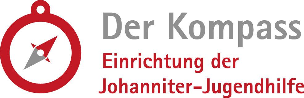 """Grafik eines Kompass mit Schriftzug """"Der Kompass. Einrichtung der Johanniter-Jugendhilfe"""""""