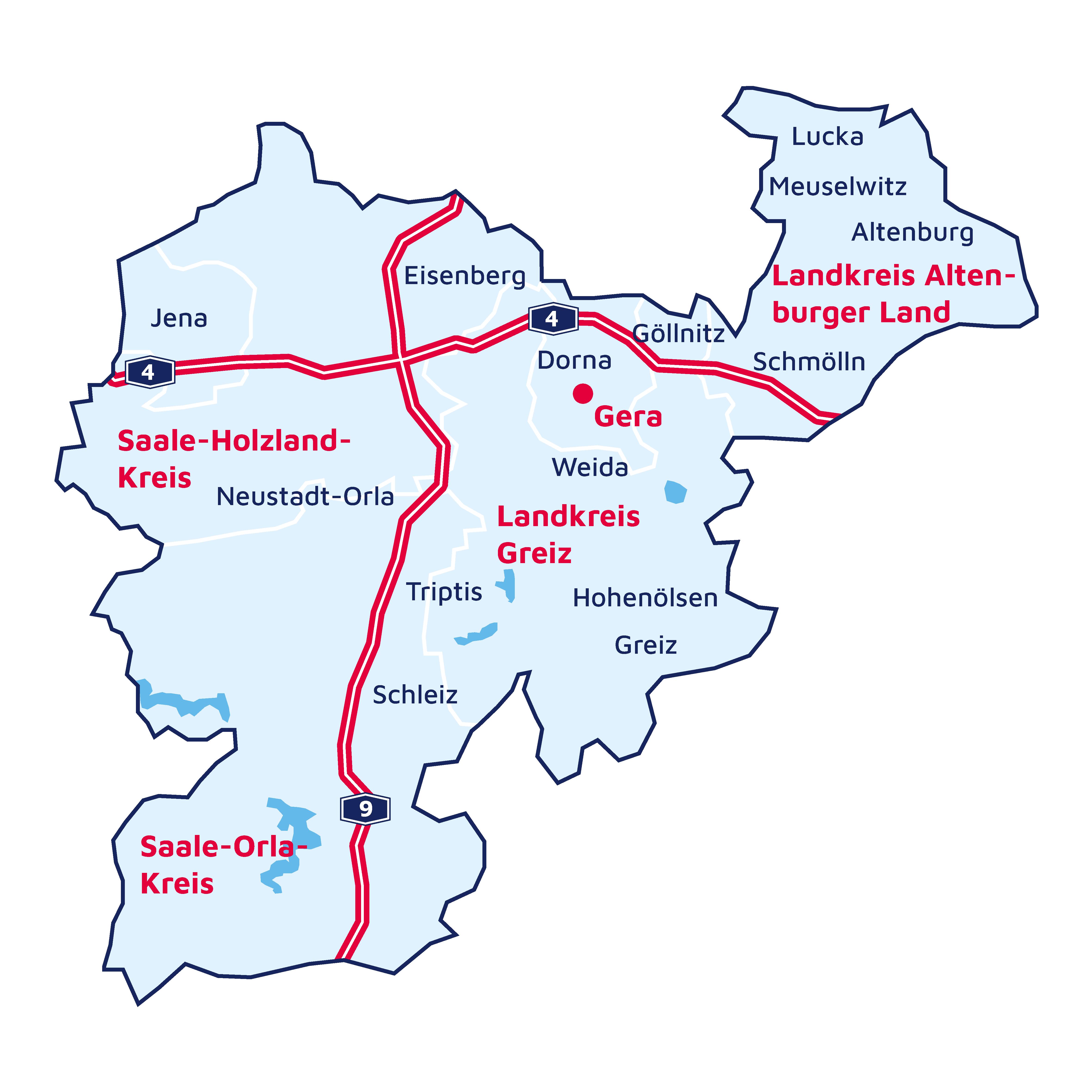 Eine Karte des Verbandes Ostthüringen.