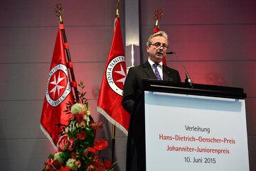 Der Herrenmeister des Johanniterordens hält Laudatio auf der Preisverleihung 2015
