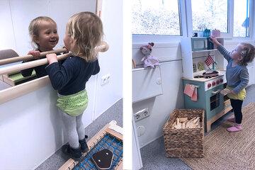 Kind entdeckt die Welt in kleinen Schritten