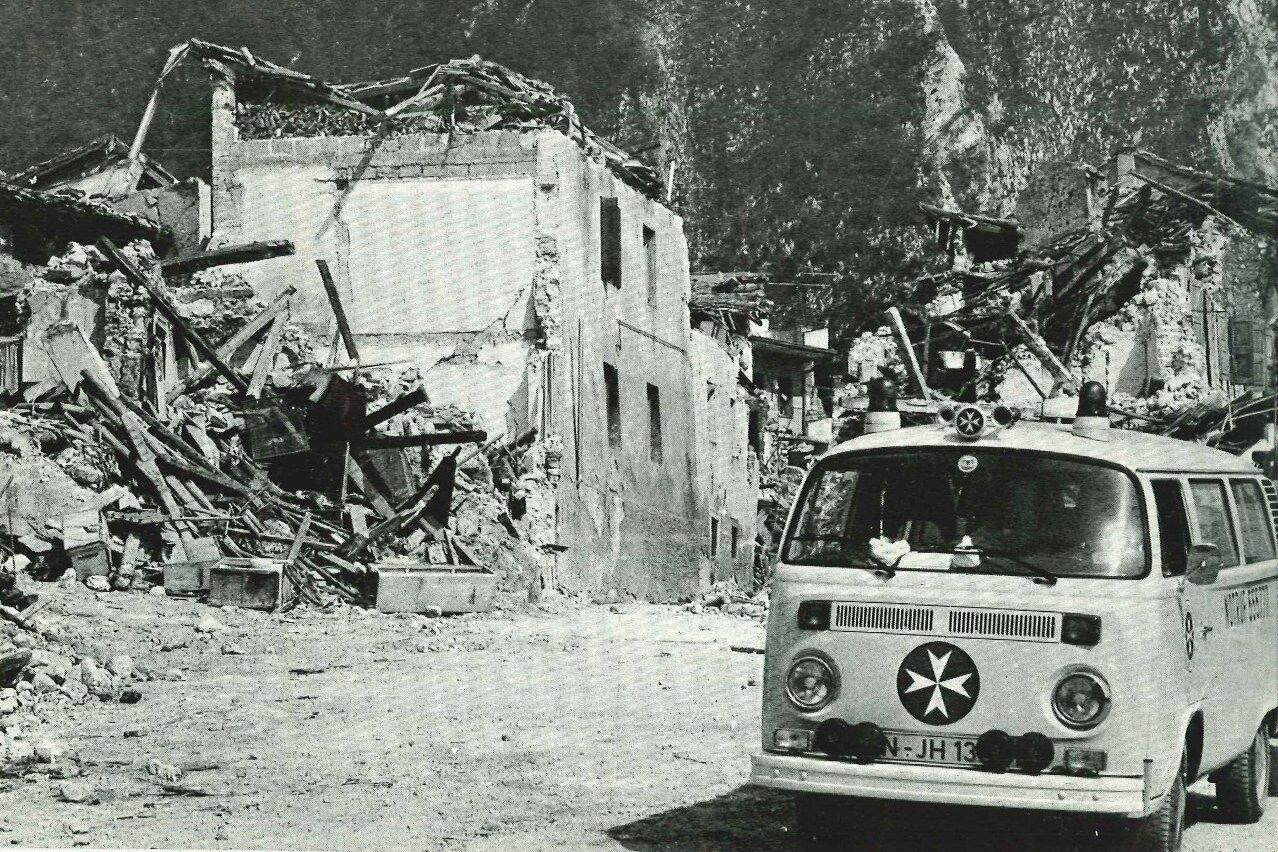 Einsatz beim Erdbeben im italienischen Friaul im Jahr 1976.