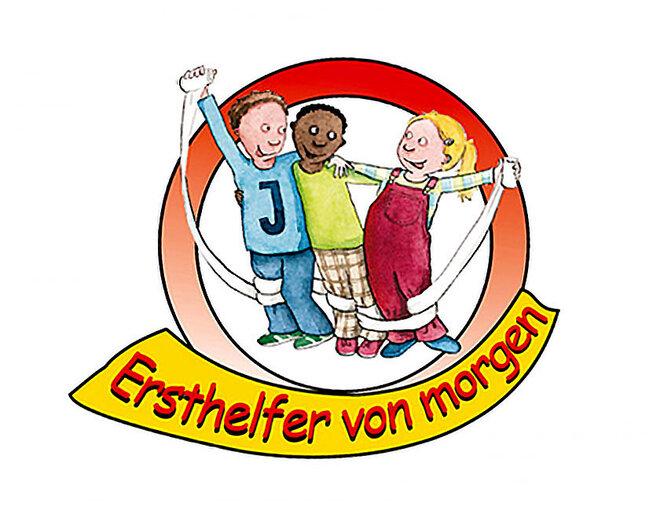 """Zeichnung von drei Kindern die den Arm umeinander legen und einen ausgerollten Verband hochzeigen. Unterhalb steht """"Ersthelfer von morgen"""""""