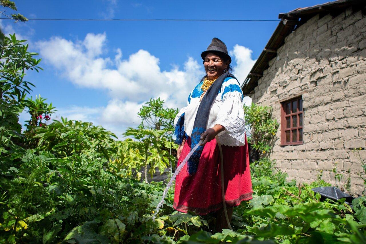 Indigenous female farmer in Ecuador