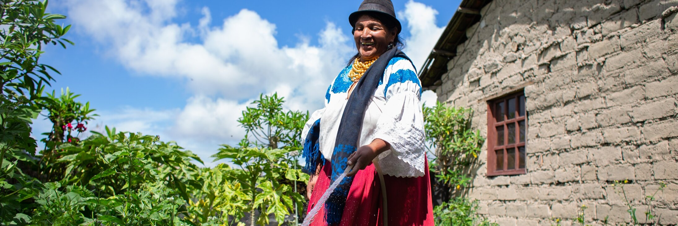 Indigenous female farmer in Ecuador