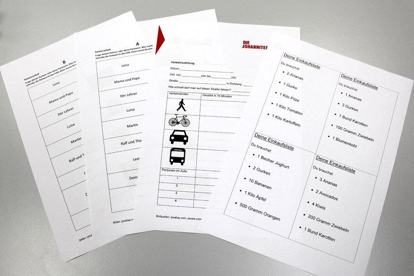 Arbeitsblätter für die Teilnehmenden zum Lernen der deutschen Sprache.