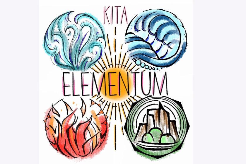 Kita Logo gezeichnet mit den vier Elementen Feuer, Wasser, Erde und Luft