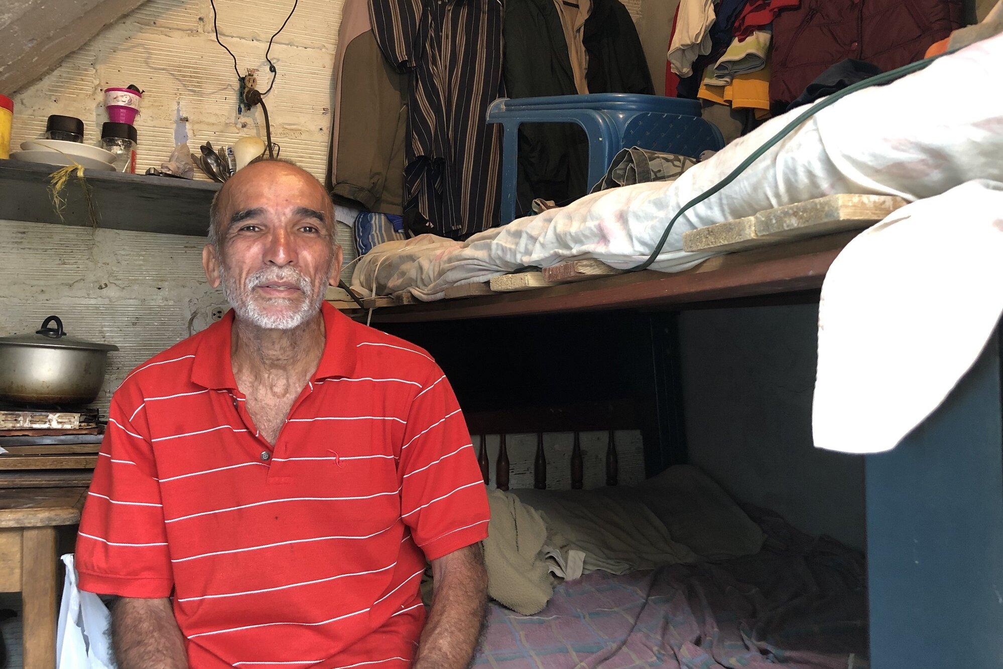 Sergio La Cruz in his accommodation