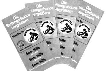 Ein Flyer zur Ersthelfer-Ausbildung aus dem Jahr 1982.