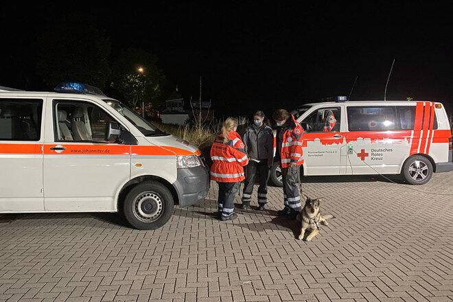 Einsatzteam steht gemeinsam mit Rettungshund von den Einsatzfahrzeugen und bespricht sich.