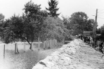 Großeinsatz bei der Oderflut im Jahr 1997.