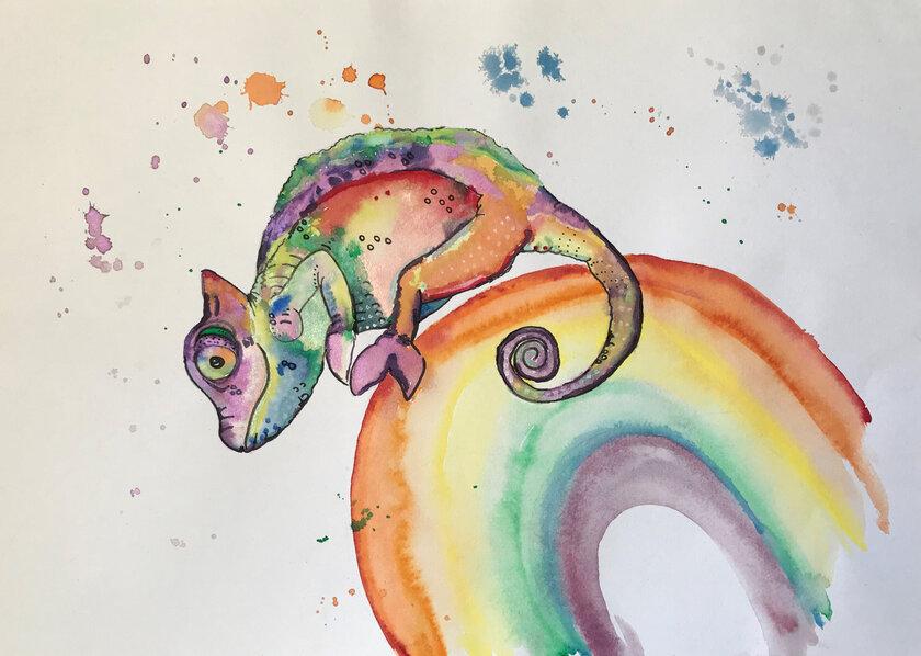Zeichnung eines Chameleons auf einem Regenbogen