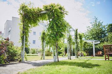 Spalier begrünter Weg zu den Bänken im Garten des Johanniter-Stiftes