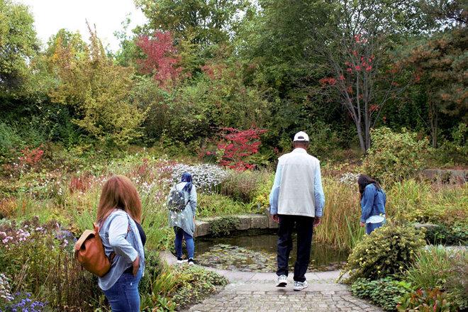 Die Teilnehmenden erkunden den Park der Sinne in Laatzen mit seiner vielfältigen Pflanzenwelt die in grün, rot und gelb erstrahlt.