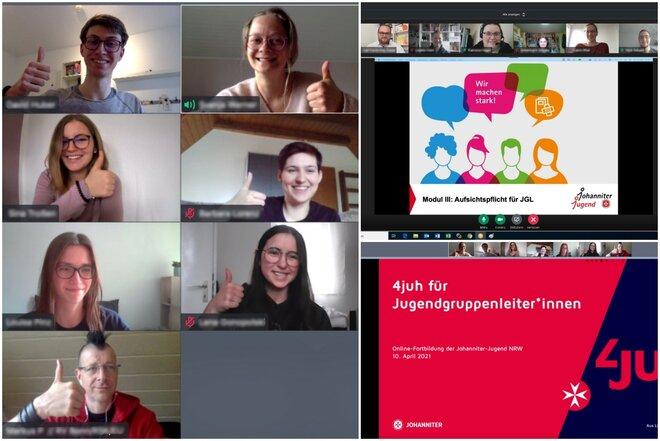 Eine Bildschirmaufnahme der verschiedenen Videokonferenzen. Zu sehen sind zum Teil geteilte Präsentationen und Teilnehmer*inne, die freudig in die Kamera blicken.