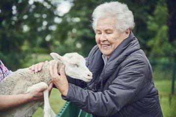 Eine Bewohnerin streichelt ein Lamm