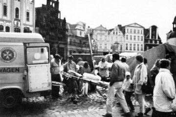 Einsatz der Johanniter-Unfall-Hilfe 1990 in Wismar.