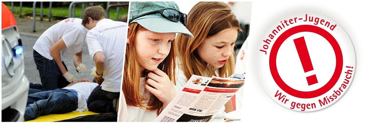 Eine Collage: Schulsanitäter*innen kümmern sich um einen Verletzten. Ein Mädchen liest in einer Zeitschrift. Das Logo des Präventionskonzeptes !ACHTUNG.