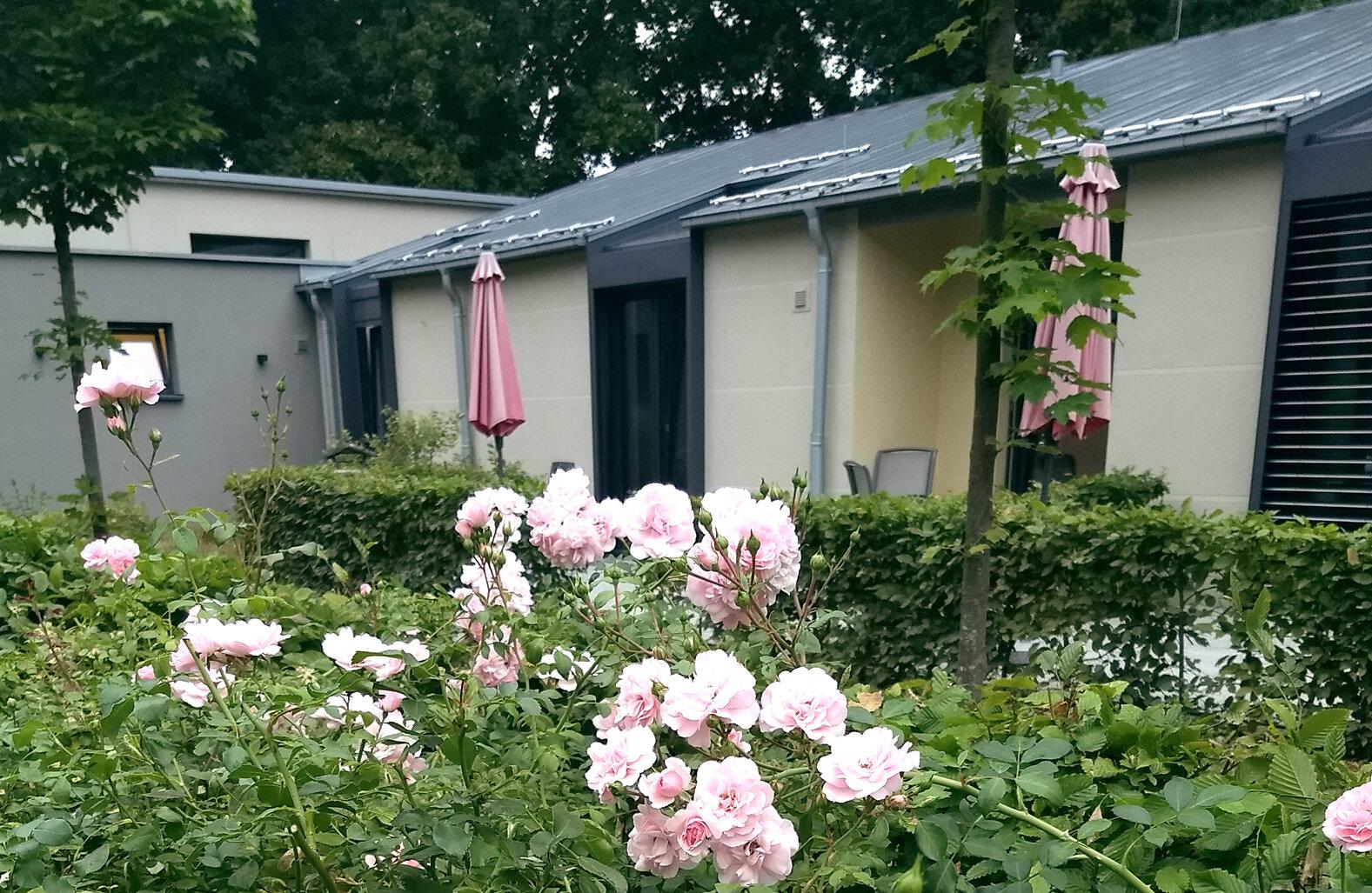 Die schön bepflanzten Außenanlagen des Johanniter Hospiz in Bremen-Nord