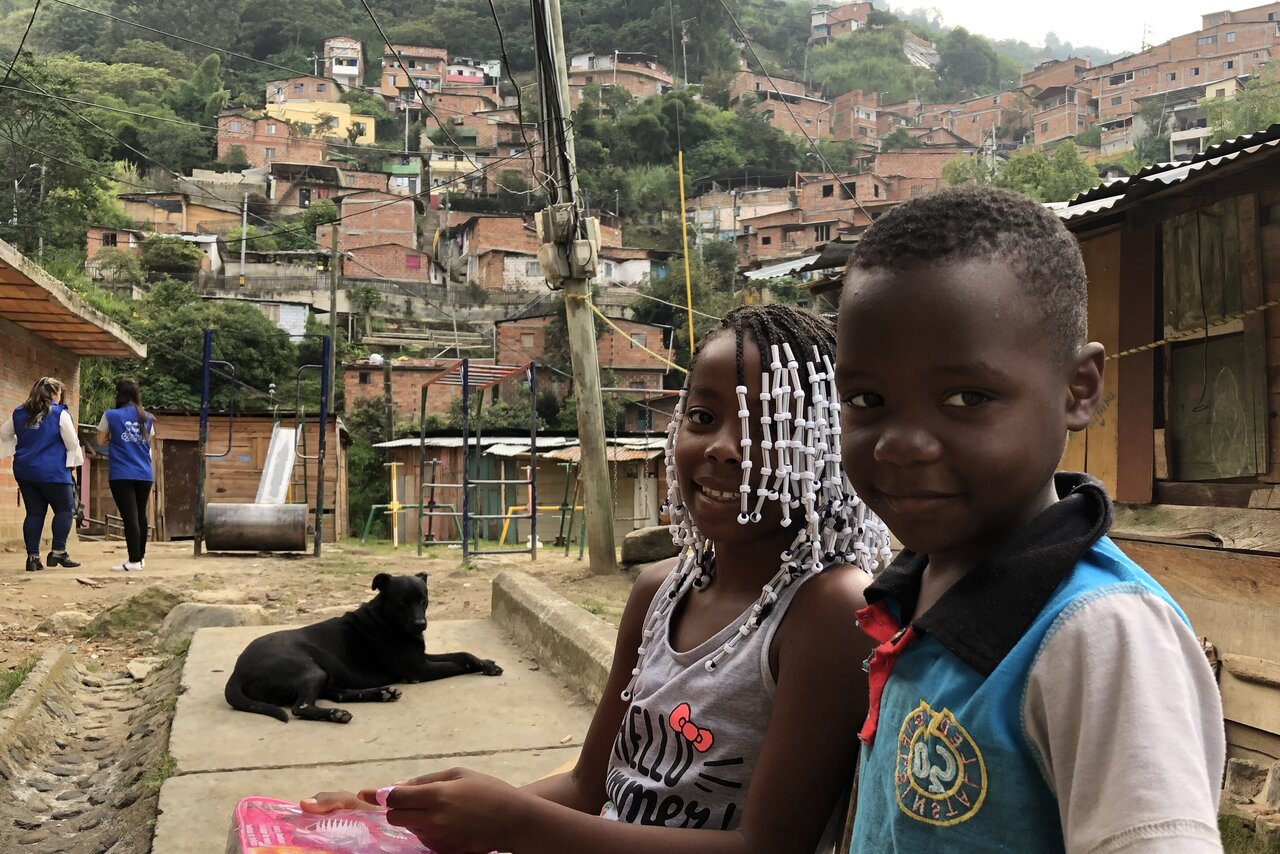 Children in the a poor district of Medellín