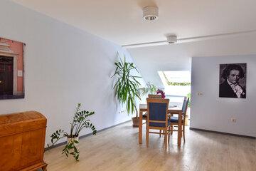 Raum mit Grünpflanzen, Deko und Tisch mit Stühlen.