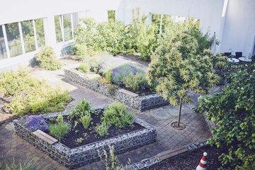 Blumenbeete im Garten des Johanniter-Hauses Waibstadt