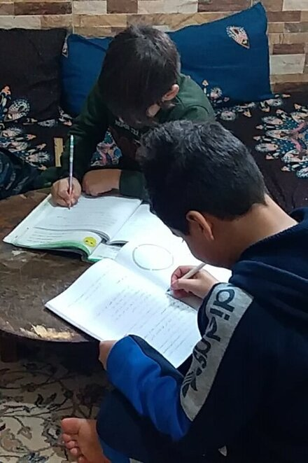 A boy makes his homework at the table in a living room