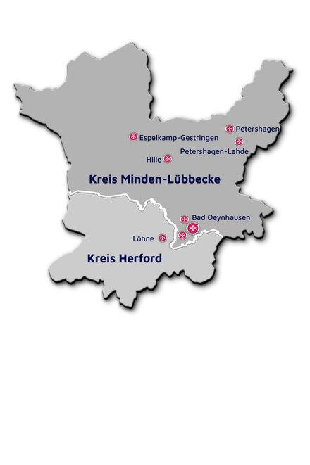 Karte von den Kreisen Minden-Lübbecke und Herford mit den Einrichtungen des Johanniter-Regionalverbandes Minden-Ravensberg