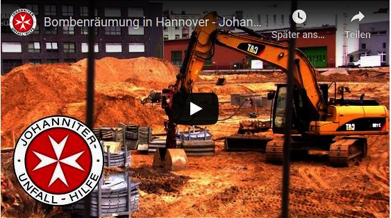 Johanniter im Großeinsatz bei der Bombenräumung in Hannover.