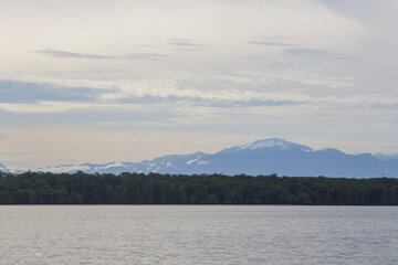 Wasser im Vordergrung, Mangrovenwald und Gebirge im Hintergrund