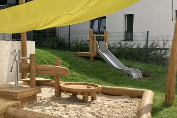 Wasserspielanlage, Sandkasten, Rutsche und gelbes Sonnensegel sind zu sehen.