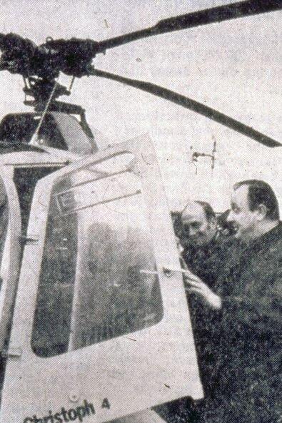 Einweihung des Rettungshubschraubers Christoph 4 durch Dr. Hans Dietrich Genscher, Innenminister a.D.